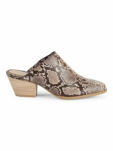 Hill II Snake-Embossed Leather Mules