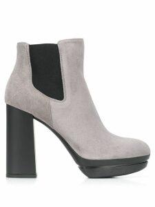 Hogan high-heeled suede boots - Grey