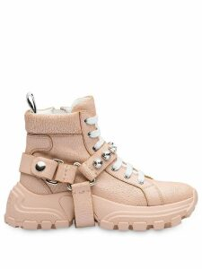 Miu Miu embellished strap high-top sneakers - PINK