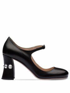 Miu Miu embellished slanted heel pumps - Black