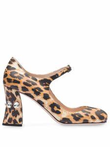 Miu Miu leopard print embellished 85mm pumps - Brown