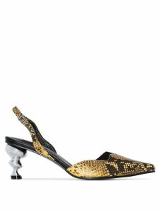 Yuul Yie python-effect 70mm pumps - Yellow