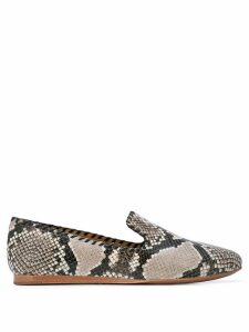 Veronica Beard snakeskin effect loafers - Black