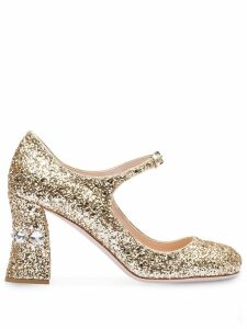 Miu Miu glitter Mary Jane pumps - Gold
