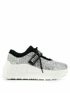 Miu Miu glitter chunky sole sneakers - SILVER