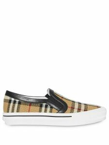 Burberry Vintage Check and Leather Slip-on Sneakers - NEUTRALS