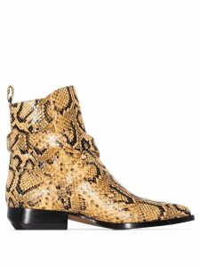 Chloé Rylee 30mm snake-effect ankle boots - Yellow