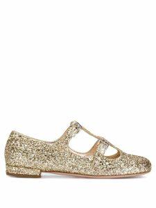 Miu Miu gold-tone glitter ballerinas