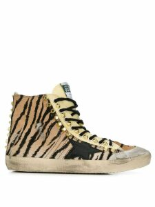 Golden Goose studded tiger print hi-tops - Brown
