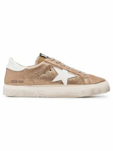 Golden Goose Rose Gold Glitter May leather sneakers - Metallic