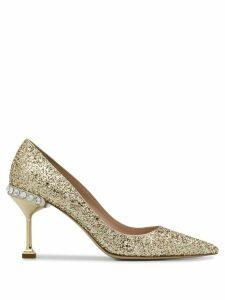 Miu Miu embellished glittered pumps - GOLD