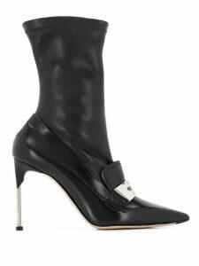 Alexander McQueen metal bar moccasin-style boots - Black