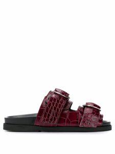 Ganni buckle detail sandals - Red