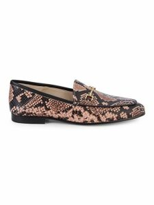 Loraine Snakeskin-Printed Bit Loafers