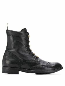 Officine Creative brogue military boots - Black