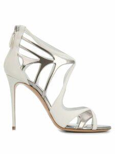 Casadei metallic stiletto sandals - White