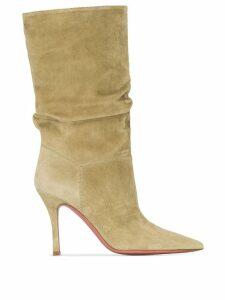 Amina Muaddi x Browns Ida 95mm slouchy boots - Green