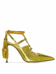 Liudmila Bellatrix 100mm snakeskin-effect pumps - Yellow