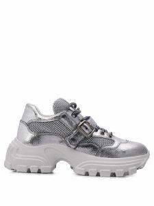 Miu Miu buckle strap chunky sneakers - SILVER