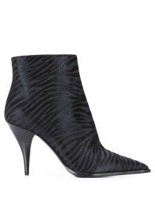 Casadei zebra textured heeled boots - Black