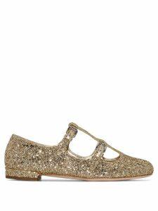 Miu Miu double T-bar ballerina shoes - Metallic