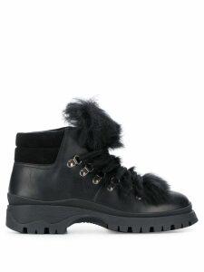 Prada shearling trim boots - Black