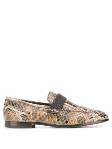 Brunello Cucinelli snakeskin effect loafers - Green