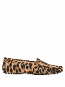 Tod's leopard print loafers - Brown