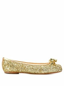 Maison Margiela Tabi glitter ballerina shoes - Gold