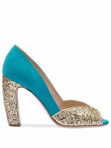 Miu Miu glitter peep toe pumps - GOLD