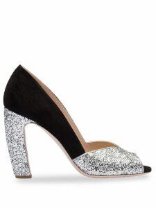 Miu Miu glitter peep toe pumps - Black