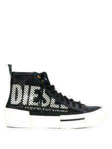 Diesel hi-top net style sneakers - Black