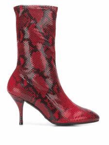 Stuart Weitzman snakeskin effect heeled boots - Red