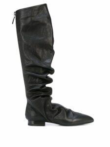 Jil Sander ruched knee-high boots - Black