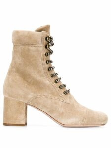 Miu Miu lace-up suede booties - NEUTRALS