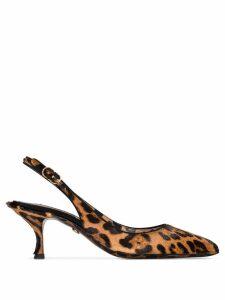 Dolce & Gabbana leopard print slingback pumps - Brown