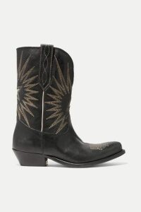 Golden Goose - Wish Star Low Embroidered Textured-leather Boots - Black