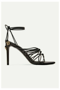 Balmain - Mikki Knotted Leather Sandals - Black