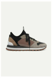 Brunello Cucinelli - Bead-embellished Suede, Leather, Mesh And Neoprene Sneakers - Gray