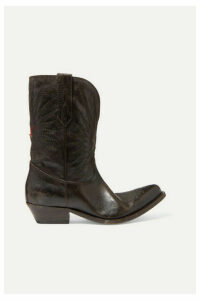 Golden Goose - Wish Star Low Embroidered Distressed Leather Boots - Brown