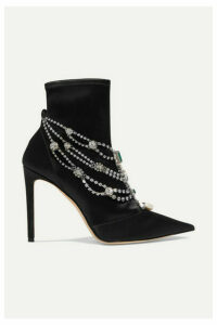 Jimmy Choo - Lyja 100 Embellished Satin Sock Boots - Black