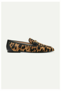 Tod's - Embellished Leather-trimmed Leopard-print Calf-hair Loafers - Leopard print