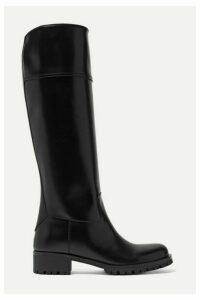 Prada - 40 Leather Knee Boots - Black