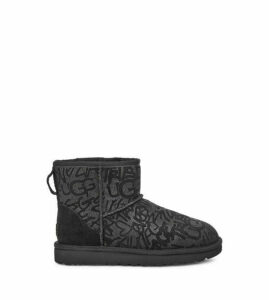 UGG Classic Mini Sparkle Graffiti Boot Womens Boots Black 8