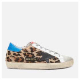 Golden Goose Deluxe Brand Women's Superstar Leather Trainers - Snow Leopard/Royal