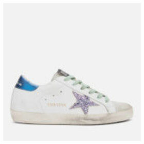 Golden Goose Deluxe Brand Women's Superstar Leather Trainers - White Blue/Pink Glitter