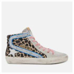Golden Goose Deluxe Brand Women's Slide Leather Hi-Top Trainers - Animalier/Silver Glitter/White Star