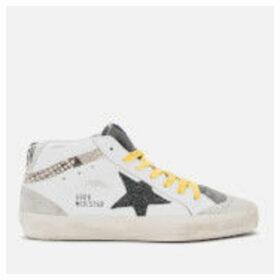 Golden Goose Deluxe Brand Women's Mid Star Leather Trainers - White/Snake Print/Black Glitter Star