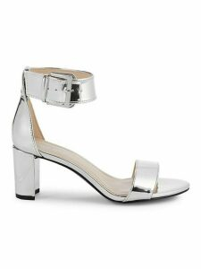 Metallic Ankle-Strap Sandals