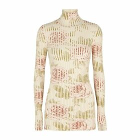 Paco Rabanne Ivory Printed Cotton-blend Jumper